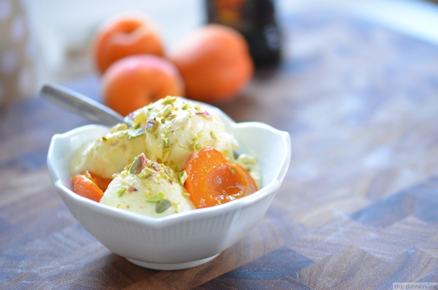 Sweet Olive Oil Ice Cream & Roasted Apricots w/ Salted Pistachios