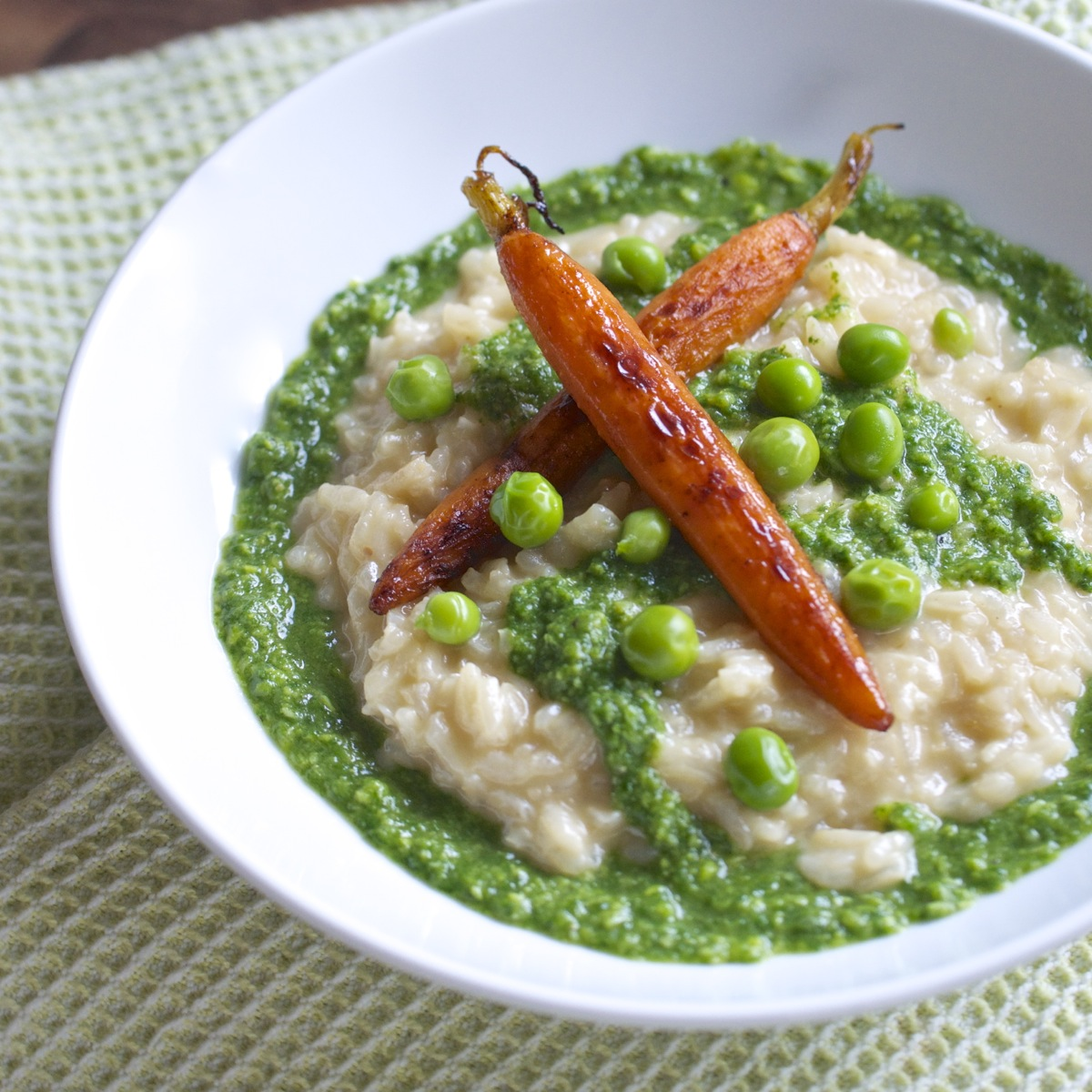 Risotto with Spring Pea Pesto & Roasted Carrots