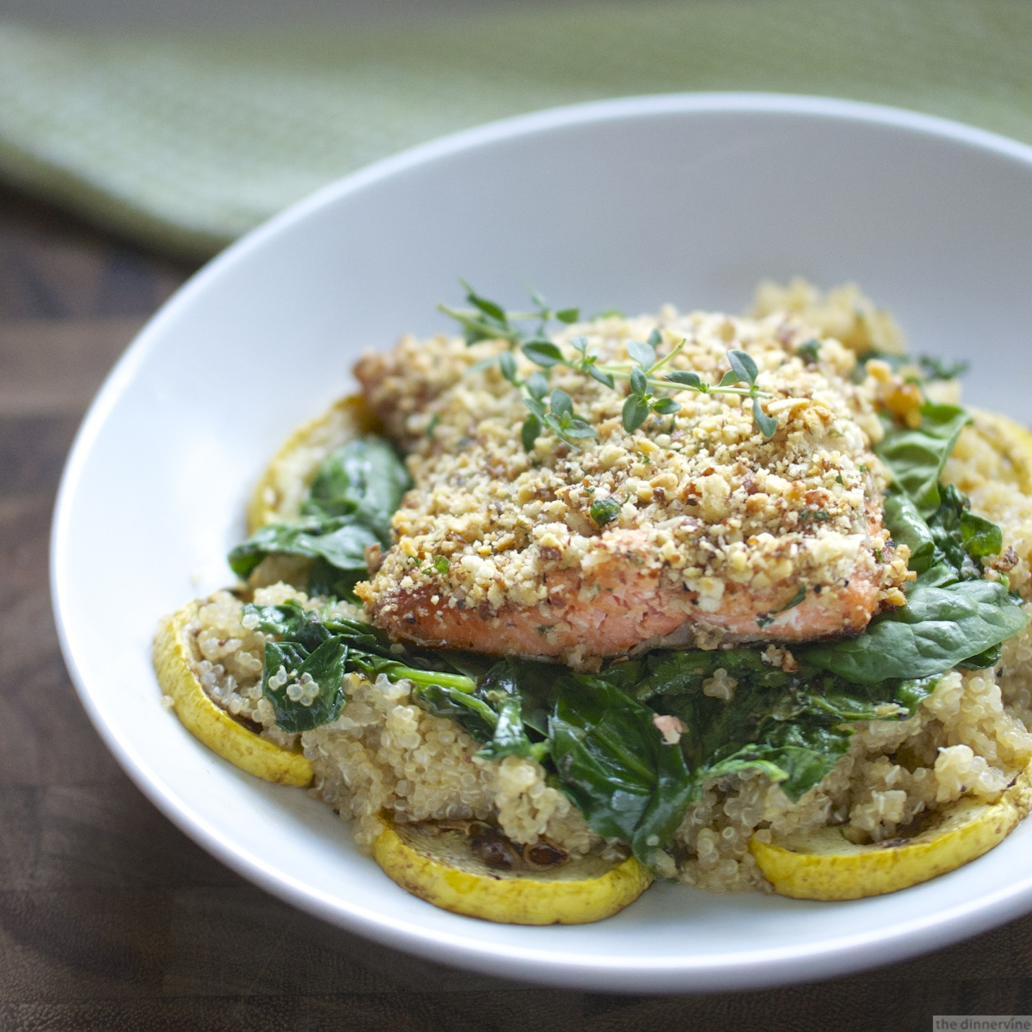 Almond Crusted Salmon, Herb Quinoa, Spinach